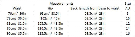 AARNA SIZE GUIDE GARMENT MEASUREMENTS