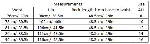 aarohi size guide garment measurements