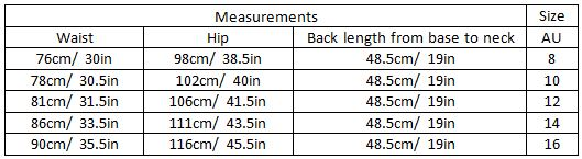 aarya size guide garment measurements