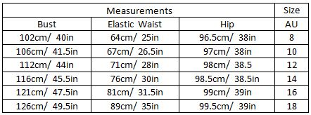 aashvi size guide garment measurements