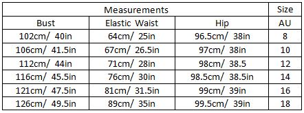 abbey size guide garment meansurements