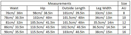 abbie size guide garment measurements