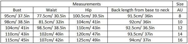 abella size guide garment measurements