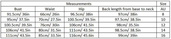 abrianna size guide garment measurements