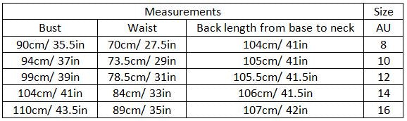 abrielle size guide garment measurements