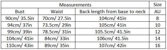 abril size guide garment measurements