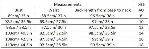 adalee size guide garment measurements