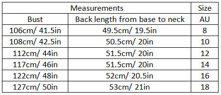 adalene size guide garment measurements