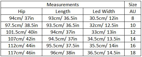 adalie size guide garment measurements