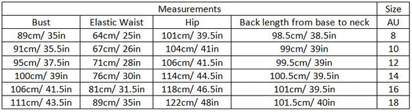 adalina size guide garment measurements