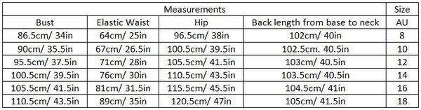 adaly size guide garment measurements