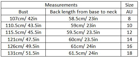 adamaris size guide garment measurements