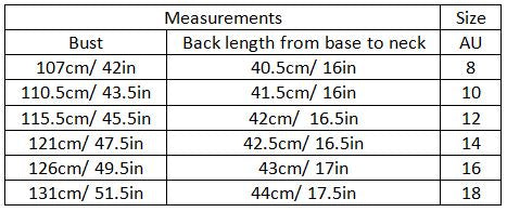 adara size guide garment measurements