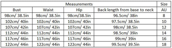 ailin size guide garment measurements
