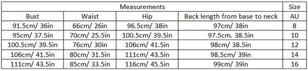 airam size guide garment measurements