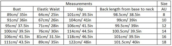 aiyana size guide garment measurements