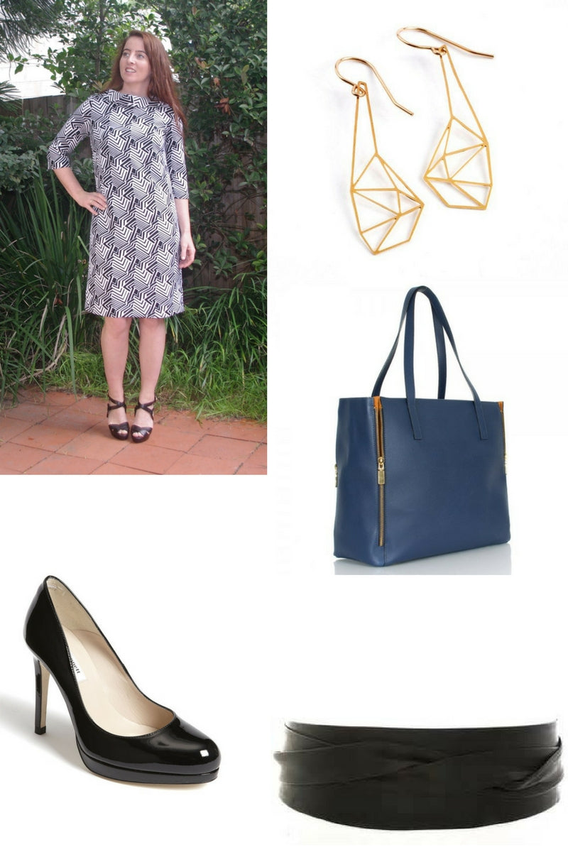 aine dress LK Bennet black patent pumps leather wrap belt navy leather heandbag gold geometric earrings