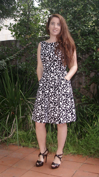 Adalee black and white polka dot dress