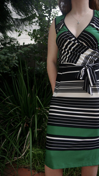 green, black and white Adaly dress