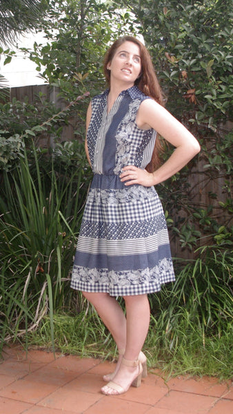 ABBEY - Printed Chambray Shirt Dress