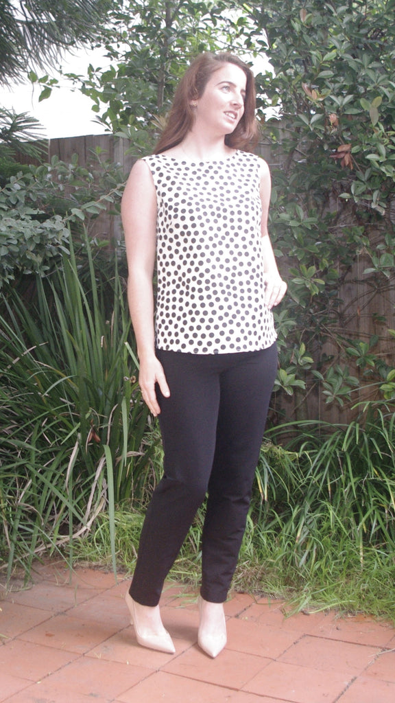 Alaia blue & white polka dot blouse