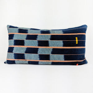 African Baule Ikat  |  Blue Blocks + Orange Stripes ( Lumbar )