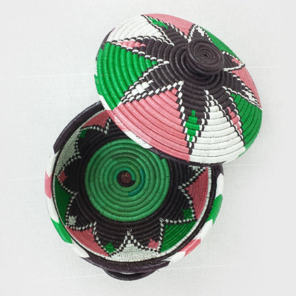 Green + White + Pink  |  Black Leaf (Lidded)