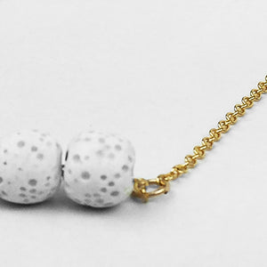 Gold + White Lava Beads