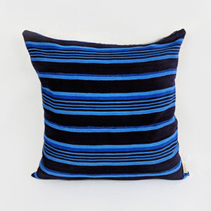 African Mud Cloth  |  Dark Brown + Blue Stripes