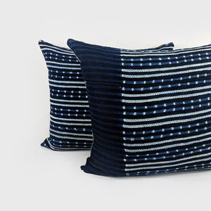 Stripes + Dots | Indigo Pillow
