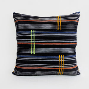 African Baule Ikat  |  Black + Multicolor Stripes