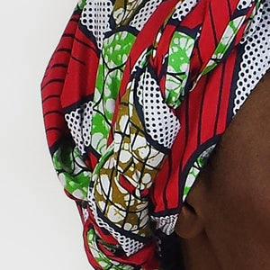 Cotton  |  Red + White + Green Graphic Pattern