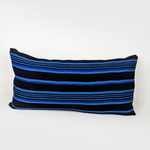 African Mud Cloth  |  Dark Brown + Blue Stripes (Lumbar)