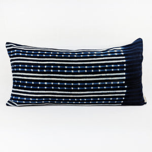 African Indigo  |  Blue + White Dots and Stripes ( Lumbar )