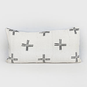 African Mud Cloth  |  White + Black Cross ( Lumbar )