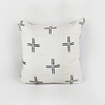 African Mud Cloth  |  White + Black Cross