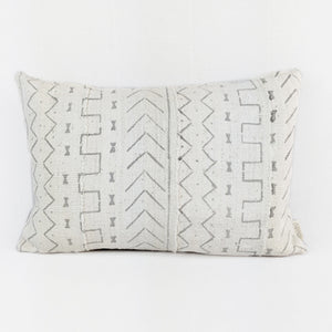 African Mud Cloth  |  Grey + White Tribal Print ( Lumbar )