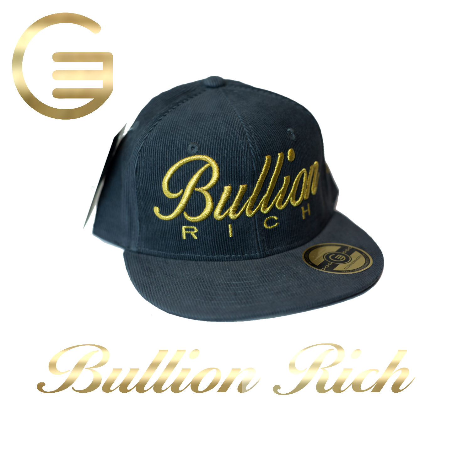 Bullion Rich Gold On Charcoal Gray Snapback