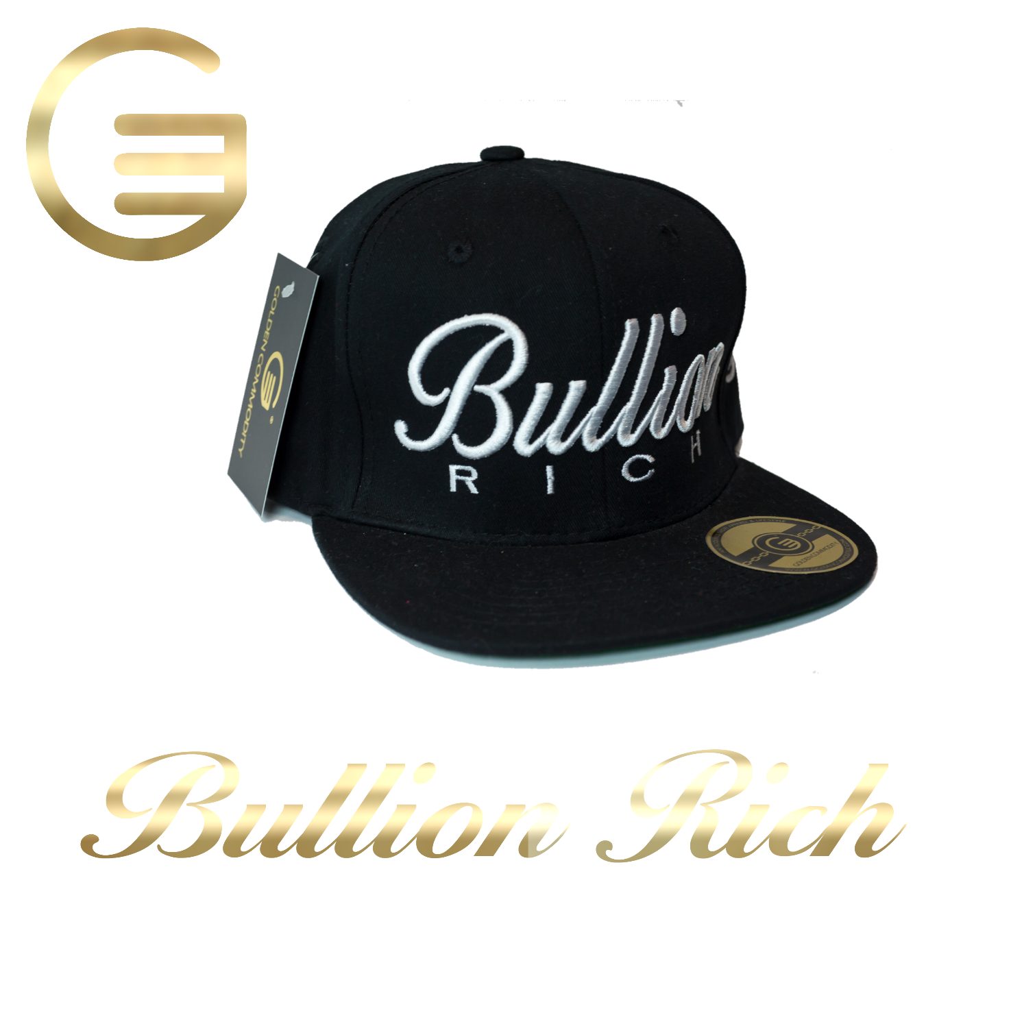 Bullion Rich White On Black Snapback