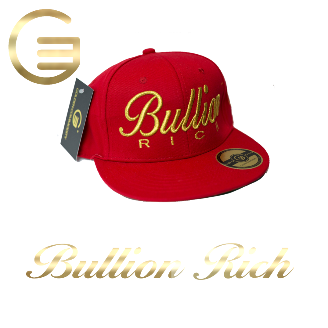 Bullion Rich Gold On Red Snapback