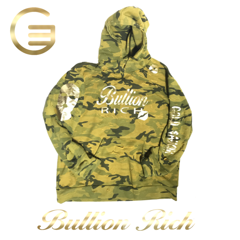 Bullion Rich Distressed Mustard Fatigue Hoodie