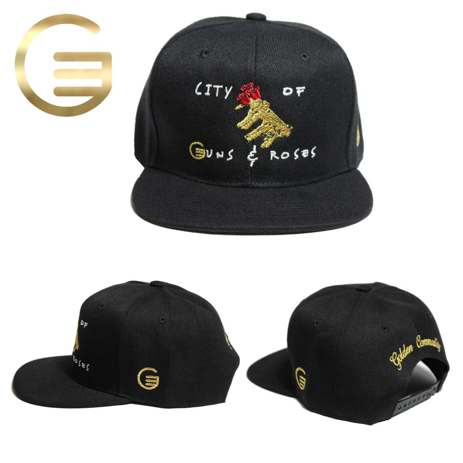 City Of Guns & Roses Collection Black Canvas Snapback