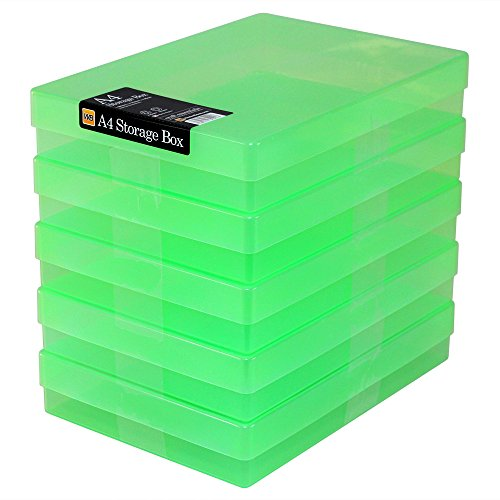 WestonBoxes A4 Plastic Craft Storage Boxes - Green (Pack of 5)