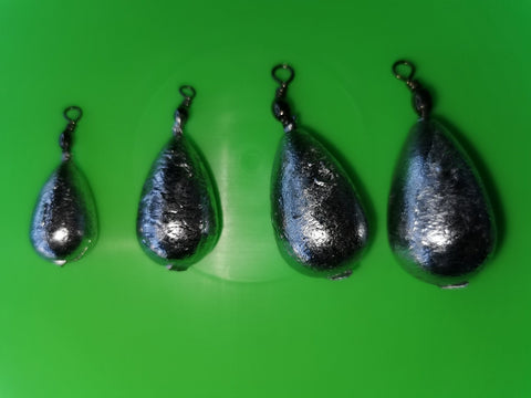 Lead Fishing Weights - Pear Bombs Swivel