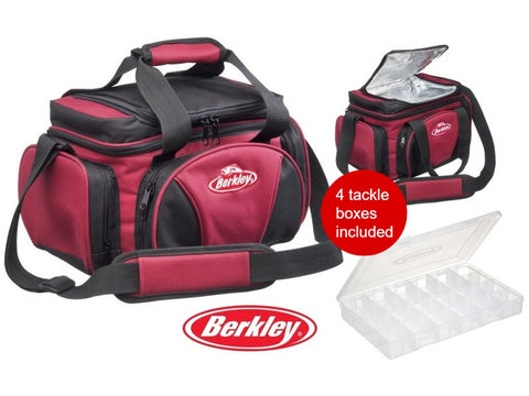 Berkley System Bag + 4 Tackle Boxes + Cooler Top