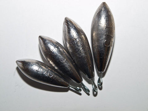 Lead Fishing Weights - Distance Casting Torpedos With Tails