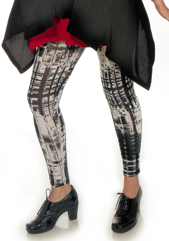 Black & White Hand Dyed City Leggings