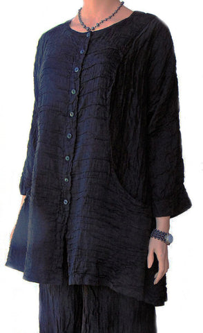 Grizas Black Crinkle Tunic Jacket