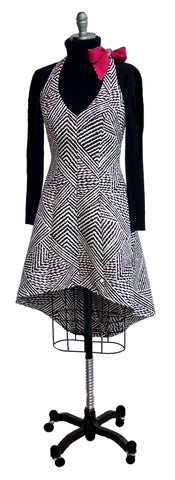 Black and White Optical Illusion Halter Jumper Dress