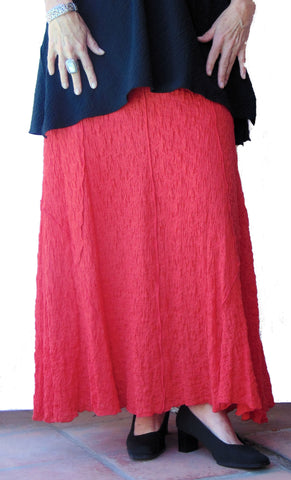 Coral Red Wrinkle Skirt
